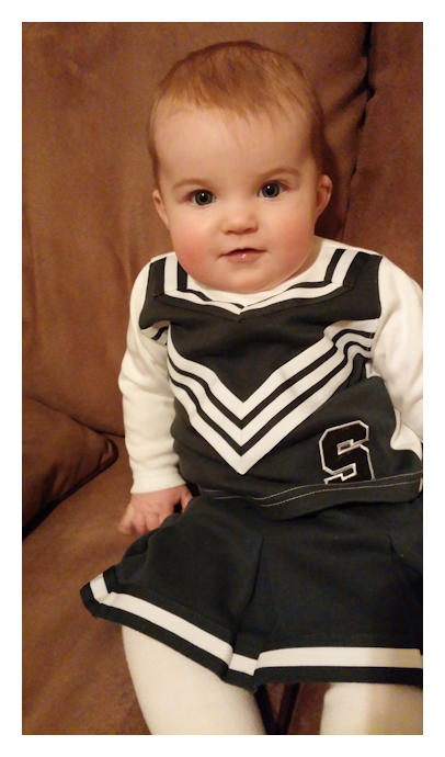 Raya wanted to wear her Michigan State Cheerleader outfit on her birthday. ;)